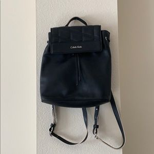 Calvin Klein Black Leather Backpack
